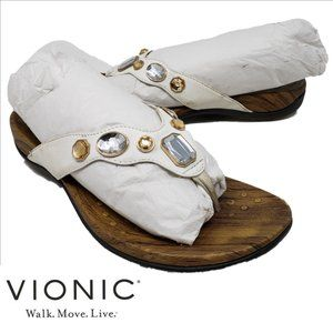 VIONIC Eve White Leather Rhinestone Thong Sandal